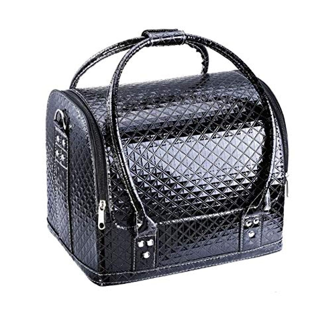 私達スイス人かける化粧箱、大容量ダブルオープンポータブル化粧品ケース、ポータブルダイヤモンドパターン旅行化粧品バッグ、美容ネイルジュエリー収納ボックス