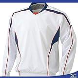 ミズノ(MIZUNO) Vネックジャケット 長袖 52WW140 01 ホワイト/ネイビー S