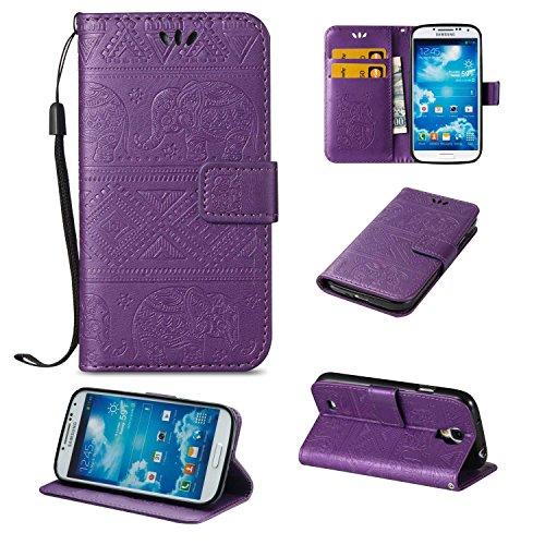 CUSKING Galaxy S4 ケース 手帳型ケース 高品質 PUレザー フリップ カバー 無地 おしゃれ 全面保護 耐衝撃 ギャラクシ S4 保護ケース ストラップ付き カード収納 スタンド機能 - パープル