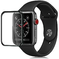 【IVSOTEK】Apple Watch Series 3 液晶保護フィルム 42mm 3D曲面加工 旭硝子製 高透過率 Watch Series 3 強化ガラスフィルム 硬度9H 2.5D 0.25mm 耐指紋 撥油性 ラウンドエッジ加工ア アップルウォッチシリーズ 3に対応 (ブラック)