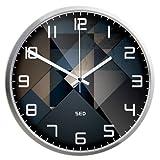 ZooooM 幾何学 模様 デザイン 掛け 時計 モダン ウォール クロック インテリア ( 35 cm サイズ / 文字盤 : ブラック , フレーム : シルバー ) ZM-CL2128-L-BKSV