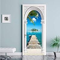 Xbwy Pvc壁紙モダンココナッツパーム海写真壁画リビングルーム寝室ホテルドアステッカー自己接着防水壁紙3D-120X100Cm