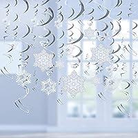 Cocobee クリスマスパーティー用品 ホワイトとシルバー 雪の結晶 吊り下げ スワールデコレーション スパイラルストリーマー ホーム ショッピング モール クリスマス ホリデー デコレーション クリスマスパーティー シーリニグオーナメント S-02
