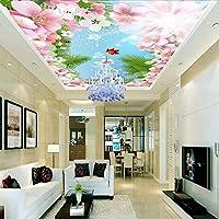 Wuyyii 壁紙3Dの美しい花の蜂ココナッツの葉のリビングルームホールの天井壁画青空白い雲宇宙の天頂Wallpaper400X280Cm