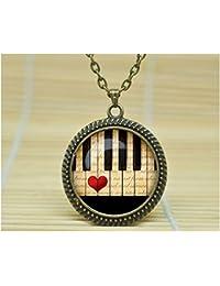 Sunshine Dayファッションネックレスピアノ音楽ピアノピアノネックレスペンダントジュエリーネックレスヒップスタージュエリーガラスカボションネックレスa0968