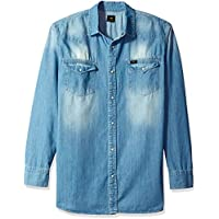 LEE Mens LM00LW318X Heritage Western Shirt Long_Sleeve Button-Down Shirt - Blue