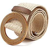 TOOGOO Straw Wide Belt Female Woven Vintage Round Wooden Buckle Decorative Dress Shirt Belt Khaki