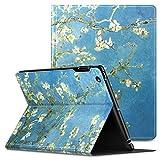 iPad 2/3/4 ケース Infiland 三つ折りケース スタンド機能 オートスリープ超薄型 傷つけ防止ケース 手帳型カバー 環境にやさしい材質 (杏の花)