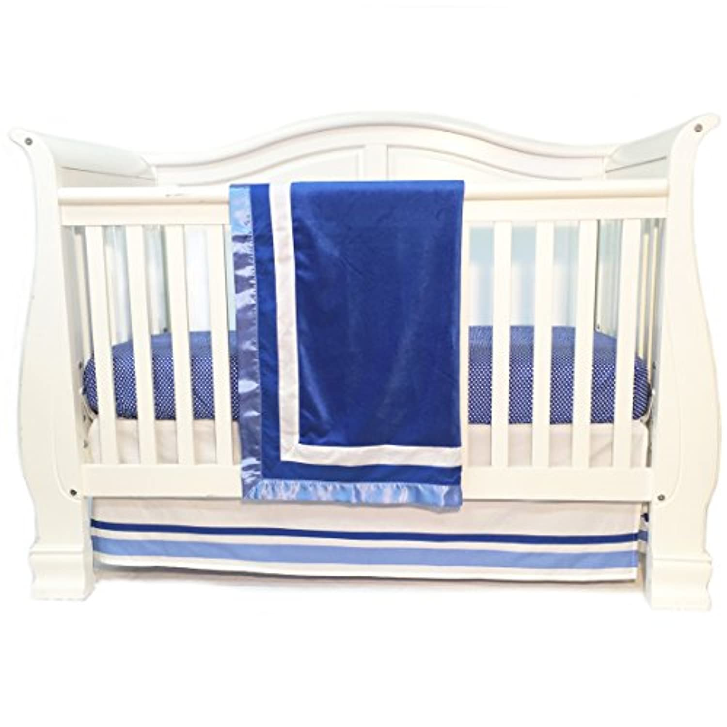 One Grace Place Simplicity Blue Infant Crib Bedding Set, Blue/White by One Grace Place