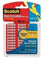 スコッチRestickableタブ、0.5X 0.5インチ( r103vpc ) Each