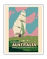 ディスカバー・オーストラリア - シドニーフェスティバル、2週間のお祝い - 帆船 - ビンテージな世界旅行のポスター によって作成された ジョン・ヴィカリー c.1934 - アートポスター - 41cm x 51cm