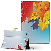 igcase d-01J dtab Compact Huawei ファーウェイ タブレット 手帳型 タブレットケース タブレットカバー カバー レザー ケース 手帳タイプ フリップ ダイアリー 二つ折り 直接貼り付けタイプ 001282 フラワー 紅葉 秋