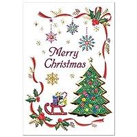クリスマスカード 洋風 二つ折りミニカード デコレーション S180-030 縦型 郵送不可サイズ CHIKYU Christmas card グリーティングカード