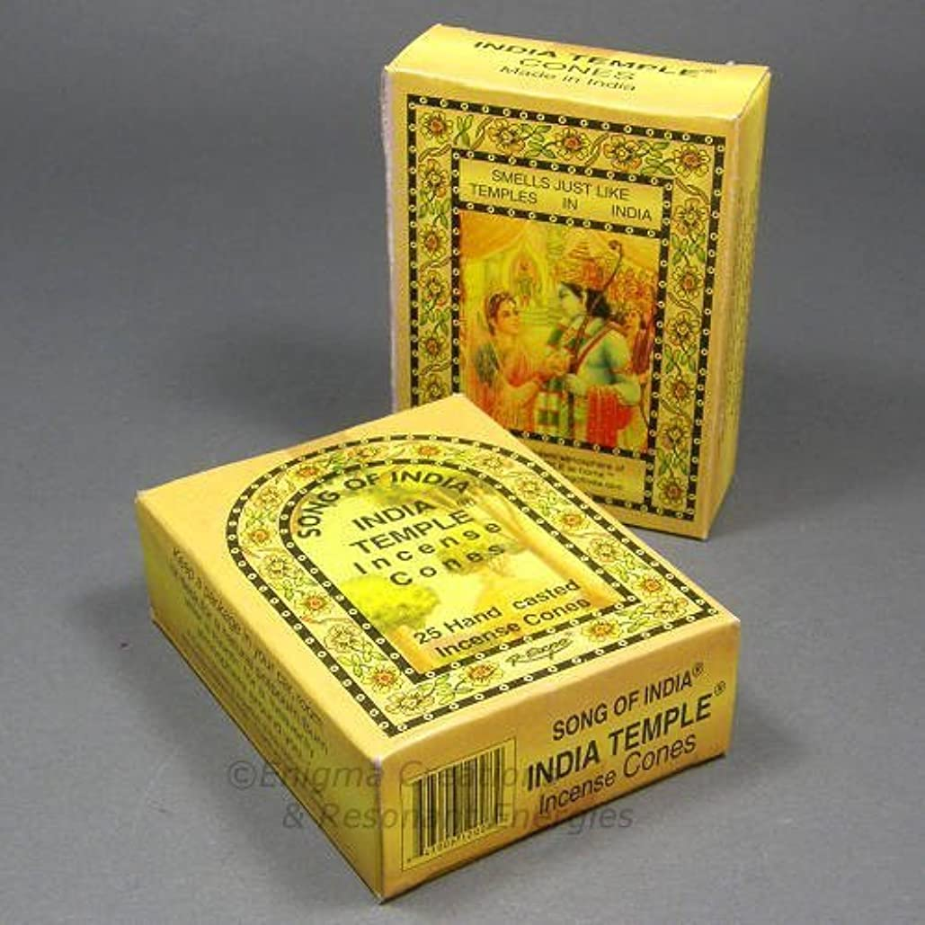 Song of India - India Temple Cone Incense, 2 x 25 Cone Pack, 50 Cones Total, (IN7) by Song of India