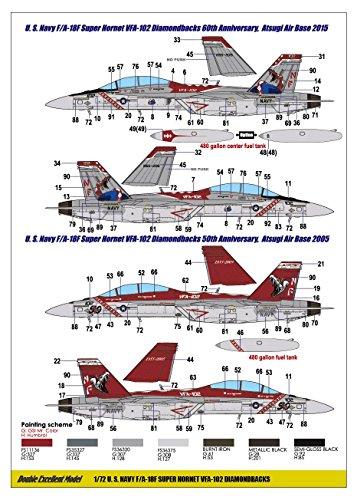 DXNデカール 1/72 USN F-18F スーパーホーネット VFA-102 Diamondbacks プラモデル用デカール 71-7121