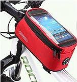 (AFROMARKET) 自転車用 サイクルポーチ スマホ操作可能 大容量 フレームバッグ 5.5インチ レッド