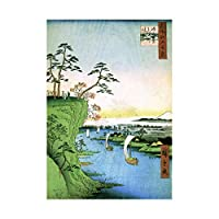 ペイントJapanese Woodblockボート川Cliff Top Framed Print f12 X 4818 12-Inches x 16-Inches F12X4818_Print only_Unframed