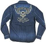 (バンソン)VANSON フライングスター チェーン刺繍 アンティーク加工 長袖 デニム ウエスタンシャツ NVSL-410 S INDIGO(インディゴ)