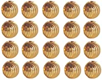 Satfale Jewellers ソリッド 22K イエロー ファイン ゴールド 5mm ツイスト 16 ピース インディアン ハンドメイド ビーズ