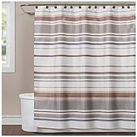 Saturday Knight Colorware Stripe Shower Curtain, Neutral [並行輸入品]