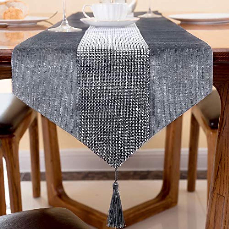 テーブルランナー 北欧 モダン シンプル インテリア 結婚式 パーティー ホームデコレーション エレガント おしゃれ 豪華 タッセル付き きらきら ビジュー グレー 33×180cm