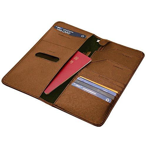 PROTAGE パスポート ケース 海外 旅行 無地 パスケース 航空券 搭乗券 eチケット カード 財布 旅行グッズ (ブラウン)