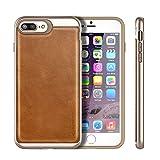 iPhone 7 Plusケース iVAPO iPhone7 Plus case 本革 PC+TPU二層構造 耐衝撃 耐汚れ 耐摩擦 軽量 スリム ビジネス風 保護ケース アップルアイフォン7プラス 5.5インチ背面カバー (ブラウン)