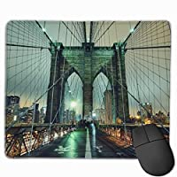 ブルックリン橋夜間滑り止めラバーマウスマットデスクトップ、コンピュータ、PCおよびラップトップ用マウスパッド9.8 x 11.8インチ(25 x 30 cm)