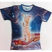 宇宙猫?!かわいい立ち猫Tシャツ L