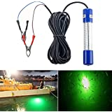 Underwater Night Fishing Light Green Submersible LED Lamp Bait Squid Fish Attracting Snook Light Dock Boat Light 12-24V 8W 20ft Cord …