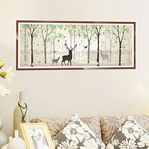 GOUZI Forest deer picture frame of the bed wall decorations the restaurant wall paper Removable wall sticker For Bedroom Living Room Background Wall Bathroom Study Barber Shop