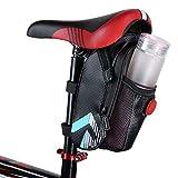 自転車 サドルバッグ 完全防水 水筒入れ付 テールライト付き 自転車バッグ 自転車 フレームバッグ 収納アクセサリー 容量拡張 軽量 ツーリング用 (1#)