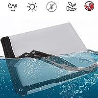 グロメット付き透明タープ、厚ヘビーデューティーポリタープ、太陽と雨を覆うタープ、クリアタープヘビーデューティ防水UV耐性引裂防止 (2mX3m/6.5x10ft)