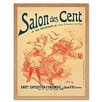 Willette Salon Des Cent 26th Exhibition Advert Art Print Framed Poster Wall Decor 12x16 inch 展覧会広告ポスター壁デコ