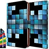 AQUOS U SHV37 ケース 手帳型 パッチワーク aquosu shv 37 手帳 格子柄 ブロック AQUOS カバー U カバー SHV37 カバー グラデーション チェック ブルー アクオス 手帳型ケース ユー 手帳型ケース エスエイチブイ 手帳型ケース ittnグラデーションチェックブルーt0511