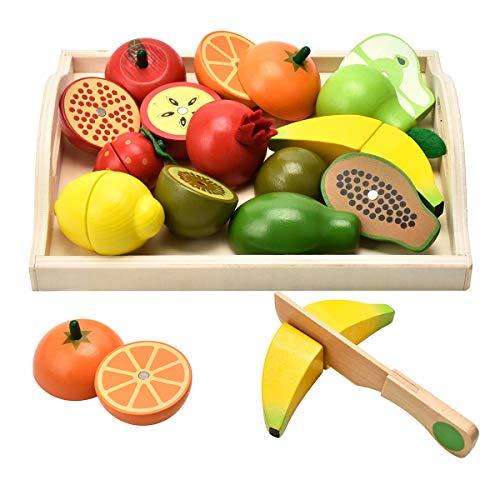 CARLORBO おままごとセット 木製 おもちゃ 収納トレイ付き サクッと切る 野菜 果物 ままごと 女の子 男の子 知育玩具 誕生日プレゼント 入園お祝い