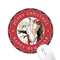 中国の古い男フィギュアパターン 円形滑りゴムのクリスマスマウスパッド