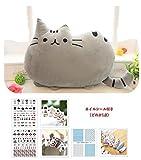 【ELEEJE】 お 部屋 の インテリア にも 最適 フワフワ 柔らか かわいい ネコ クッション ( ねこ クッション と ネイルシール の セット )グレー