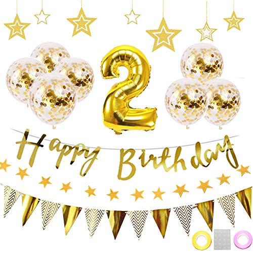 2歳 誕生日 飾り付け 22点セット ゴールド きらきら風船飾り HAPPY BIRTHDAY 装飾 華やか おしゃれ バースデー デコレーション 男の子、女の子 (1歳〜9歳)