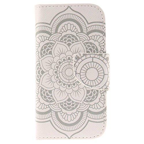 Galaxy S4 Mini ケース CUSKING 手帳ケース PUレザー フリップ カードポケット付き Samsung Galaxy ギャラクシ S4 Mini 用 軽量 滑り防止 耐衝撃 衝撃防止 保護ケース - ホワイト