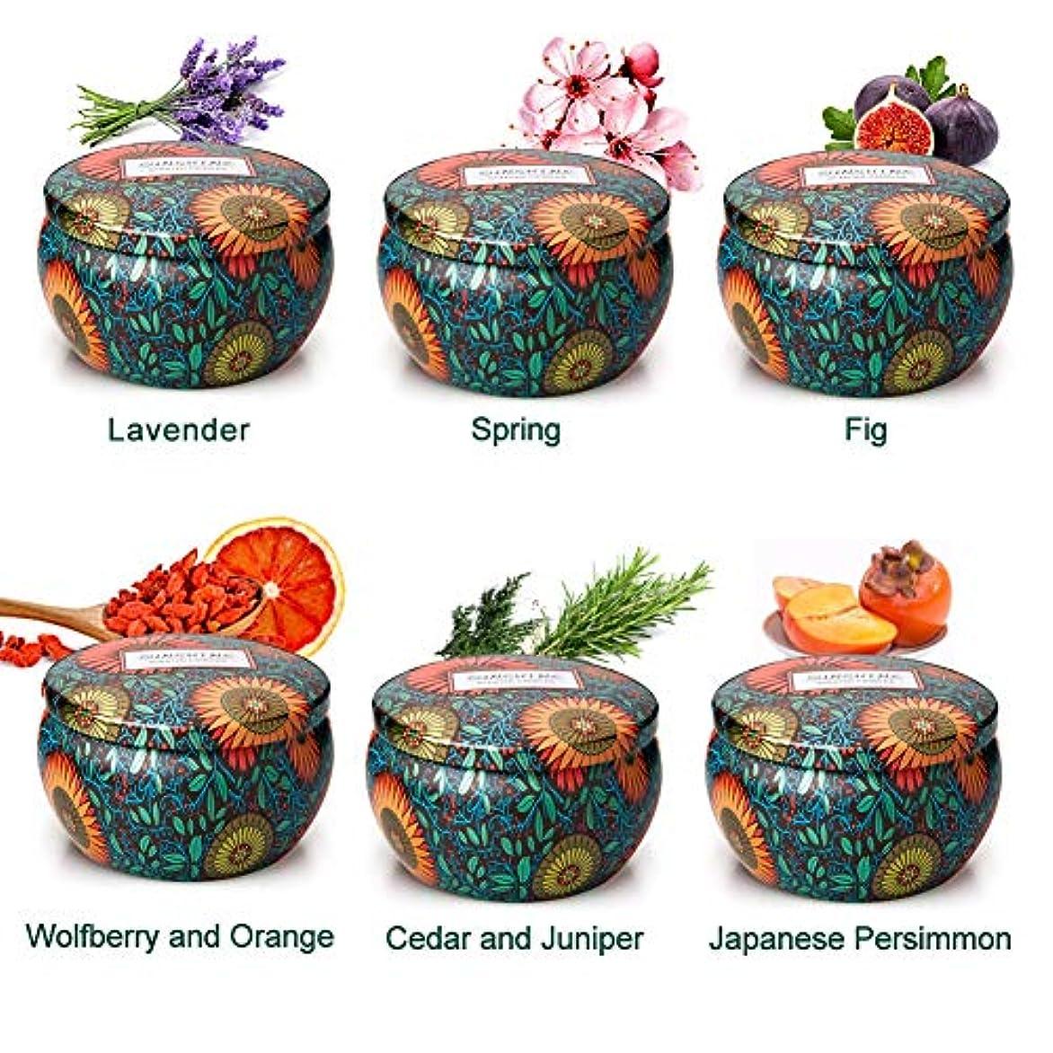捕虜侮辱追う香りのキャンドルギフトセット、6ピース天然大豆ワックスアロマセラピーキャンドルストレス解消キャンドルクリスマス、誕生日、記念日、ヨガ