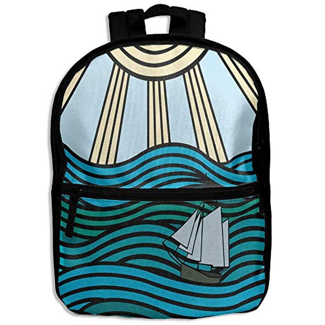 神のにんじんインタラクションキッズバッグ キッズ リュックサック バックパック 子供用のバッグ 学生 リュックサック 波 船 太陽 アウトドア 通学 ハイキング 遠足
