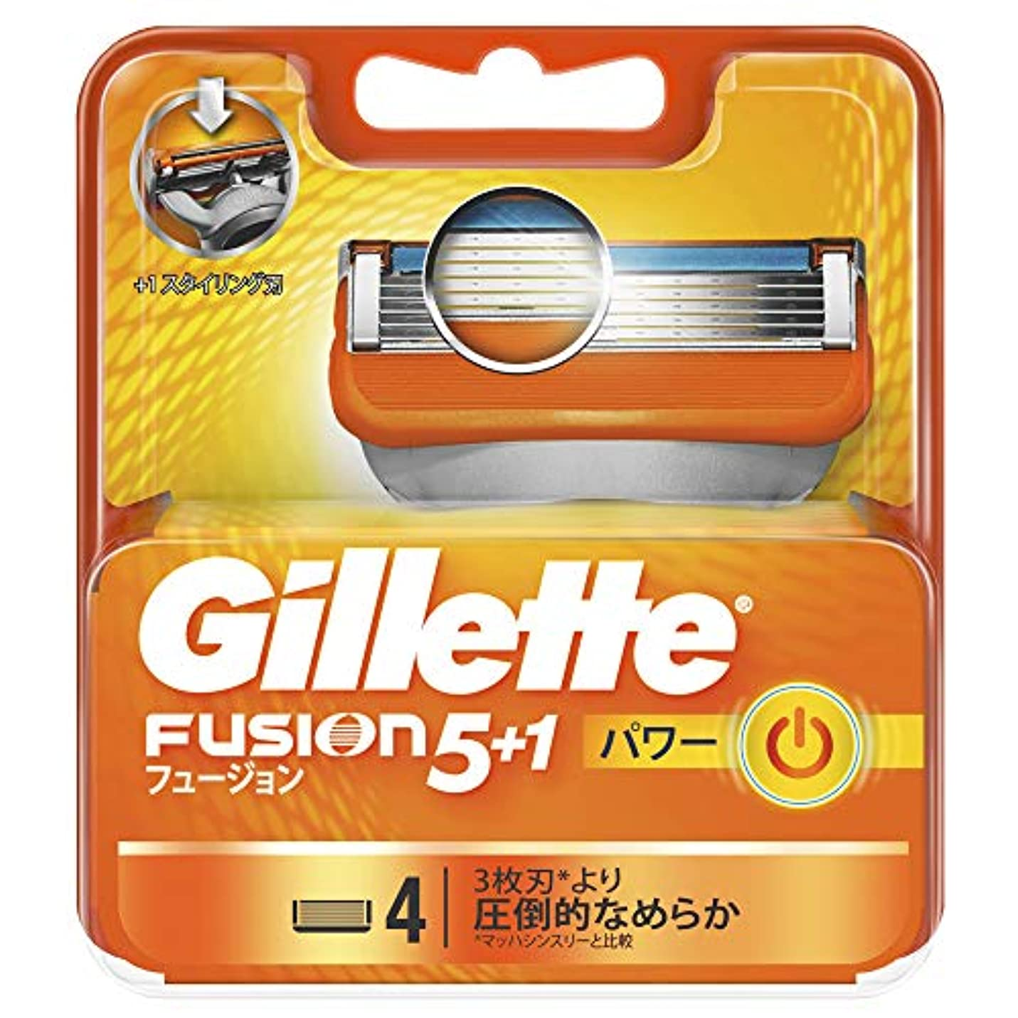 批判的喪高音ジレット 髭剃り フュージョン 5+1 パワー 替刃4個入