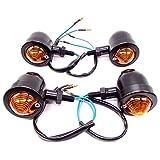 スティード モンキー ブレット 型 ウインカー 4個 セット ビレット バレット バイク カスタム (ブラック)
