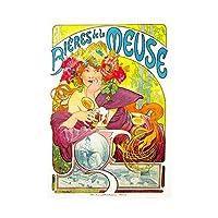 Vintage Advert Mucha Bieres Beer Meuse Nouveau Drink Framed Wall Art Print ビンテージ広告ビールヌーボードリンク壁