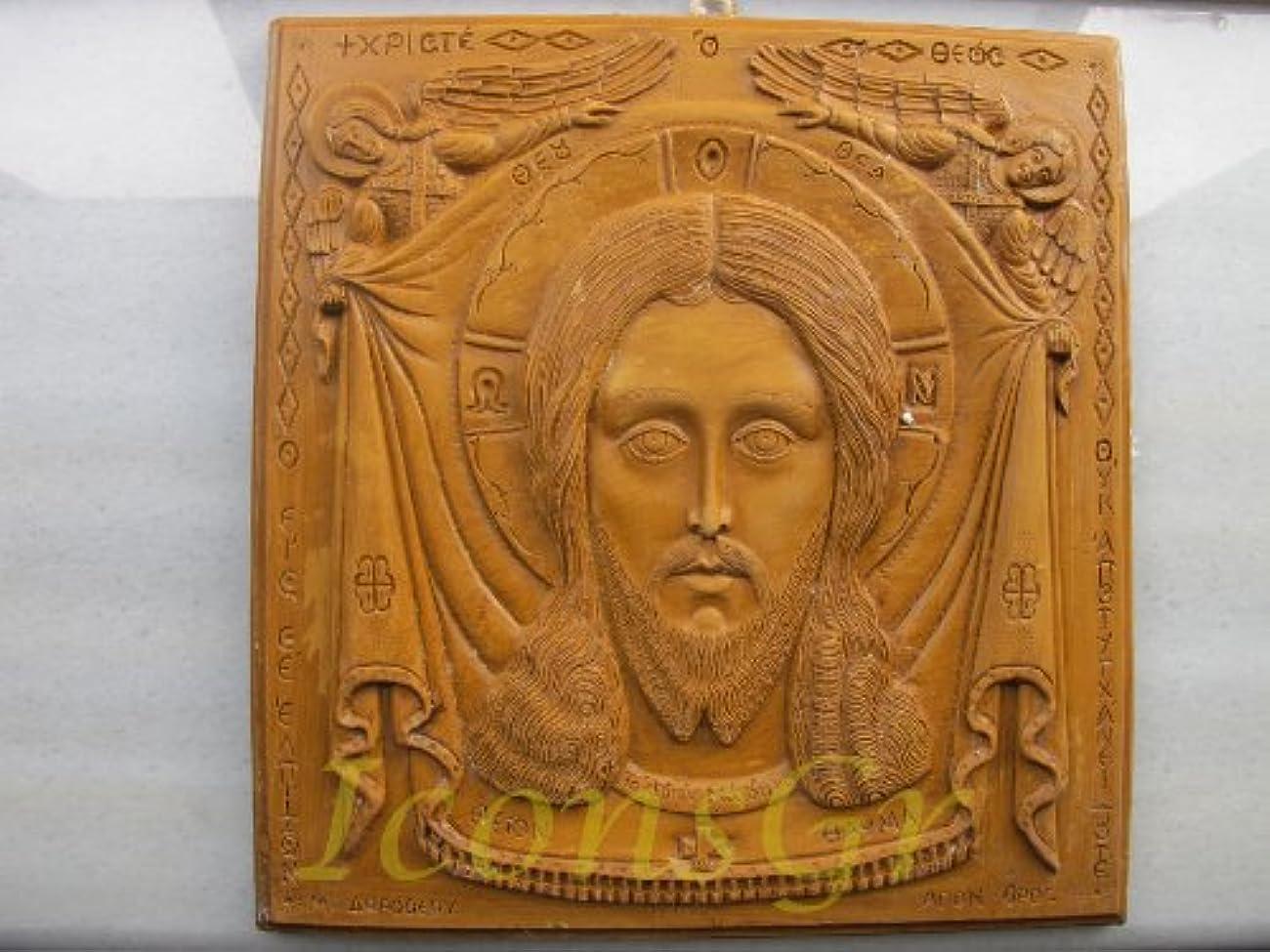 擁する高くすべきハンドメイド 彫刻 アロマ ワックス アイコン 神聖なマンディリオンのアトス山からの祝福 122