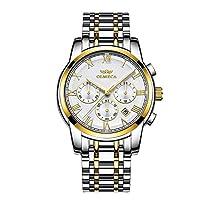 ラグジュアリー スタイリッシュ メンズ 腕時計 30m 防水 アナログ クォーツ 文字盤 男性へのギフトに最適 Silver-white
