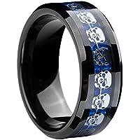メンズタングステンカーバイドリングブルーカーボンファイバーXスカルメタルシートInlay 8 mm結婚式バンドリング