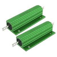 uxcell アルミ収容された抵抗器 グリーンアルミ製 冷却プレート設置 複数の接続モード 小型高出力負荷 2個入り