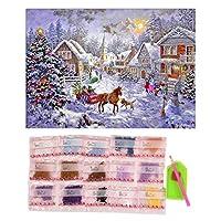 Swiftgood 40×30センチクリスマスハウス柄刺繍ダイヤモンド絵画刺繍キット